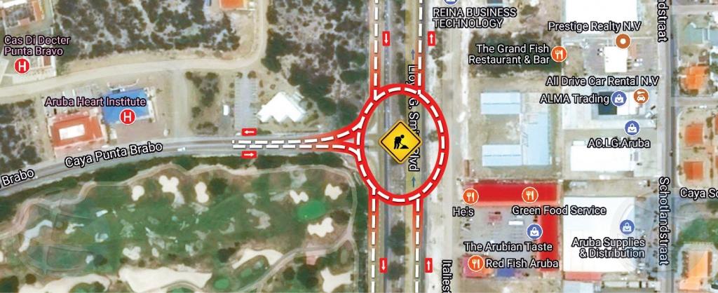 Ceramento di caminda y desviacion di trafico na Sasaki en coneccion cu proyecto Watty Vos Boulevard