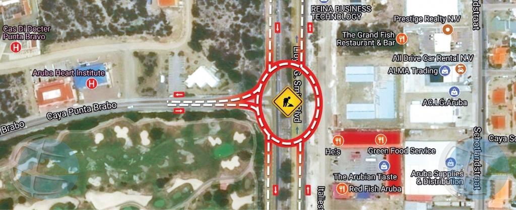 Wegomleiding te Sasaki door werkzaamheden Watty Vos Boulevard-project