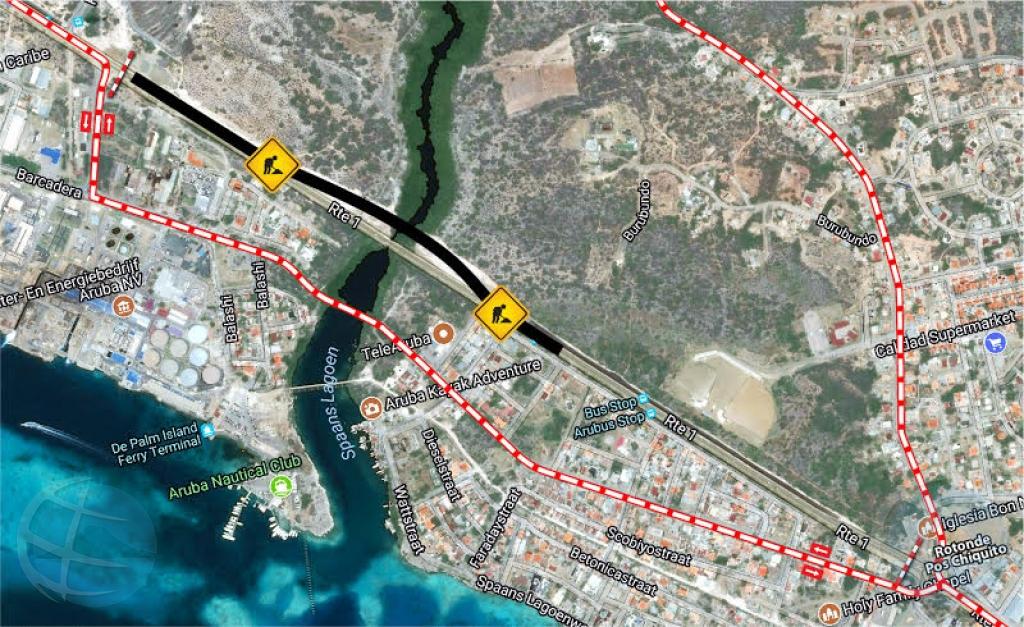 Cambio di ruta entre rotonde Kibaima y rotonde Pos Chikito