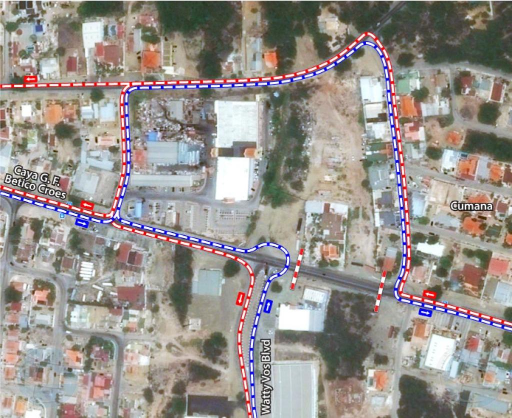 Ceramento di caminda y desviacion di trafico na rotonde Cumana