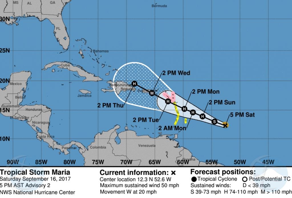 Tormenta tropical Maria a nace y ta menaza Isla Riba
