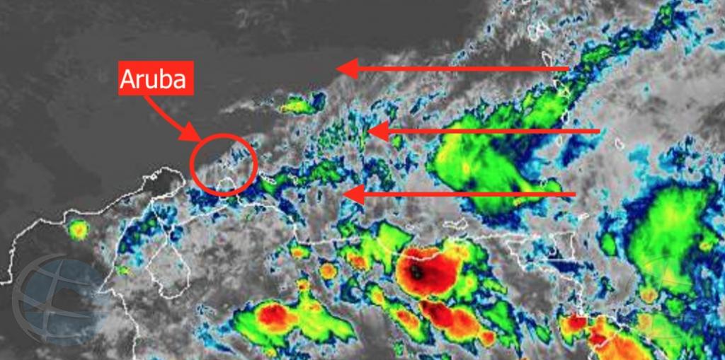 Ola tropical por afecta tempo di Aruba cu awacero pa diamars
