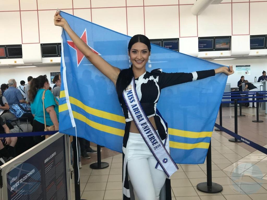 Dana Garcia a sali pa Atlanta pa representa Aruba den certamen Miss Universo 2019
