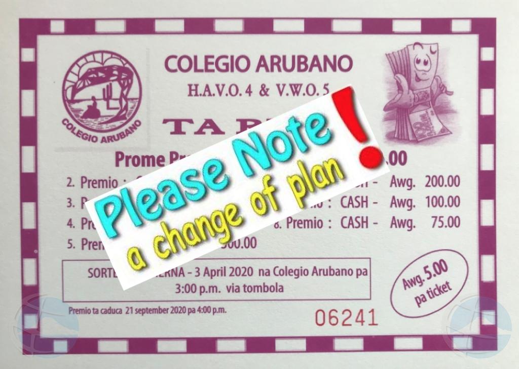 Rifa di Colegio Arubano aplasa cu 2 luna debi na coronavirus