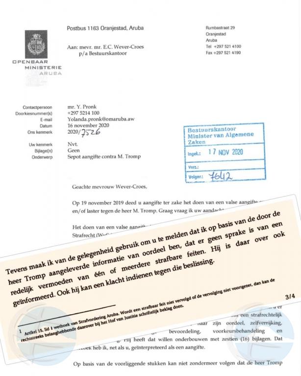 OM: A seponer tanto acusacion di Melvin Tromp y premier Evelyn Wever Croes contra otro