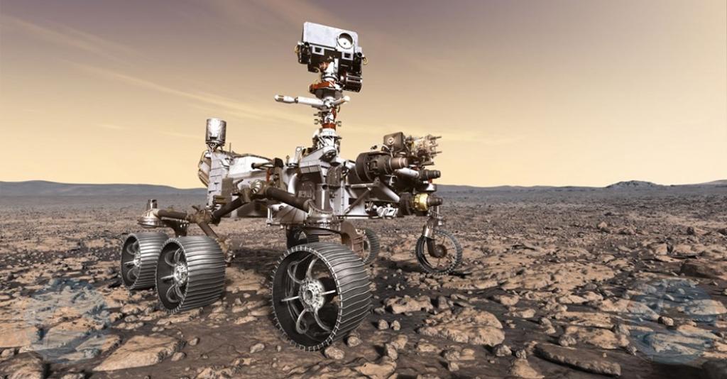 Robot exploratorio Perseverance a aterisa riba planeta Marte