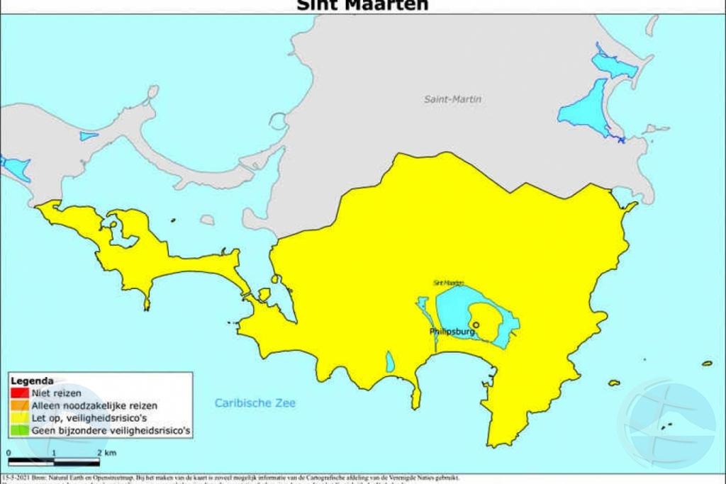 St Maarten a haya codigo geel, Saba y Statia a haya codigo berde di Hulanda