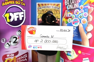 Feliz ganado di 2 miyon florin cu Lotto 5 a cobra su premio!